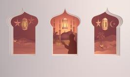 Den pappers- konstsikten från arabiskt fönster av solnedgångöknen med moskén, folk ber, kamlet, data gömma i handflatan vektor illustrationer