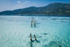 Den Paradise ön Crystal Clear Sea som är blå, gömma i handflatan, på fyre arkivfoto