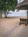 Den Paradise ön Crystal Clear Sea som är blå, gömma i handflatan, på fyre royaltyfri foto