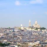 Den Paris, Montmartre kullen och den Sacre Coeur basilikan kyrktar Frankrike, Arkivbilder