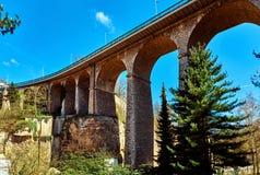 Den Passerelle bron luxembourg Arkivbild