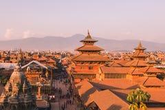 Den Patan templet, den Patan Durbar fyrkanten placeras på mitten av Lalitpur, Nepal Det är en av de tre Durbar fyrkanterna i fotografering för bildbyråer
