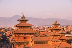 Den Patan templet, den Patan Durbar fyrkanten placeras på mitten av Lalitpur, Nepal Det är en av de tre Durbar fyrkanterna i arkivbild