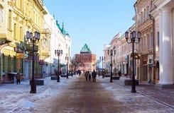 Den pedestrial gatan i Nizhny Novgorod Fotografering för Bildbyråer
