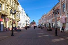 Den pedestrial gatan i Nizhny Novgorod Royaltyfri Foto