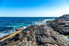 Den Pemaquid punktfyren parkerar kusten fotografering för bildbyråer