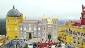 Den Pena slotten, en Romanticistslott i kommunen av Sintra, det Portugal, Lissabon området, stora Lissabon, flyg- sikt, sköt f