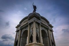 Den Pennsylvania monumentet i Gettysburg, Pennsylvania Arkivfoto