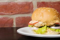 Den perfekta amerikanska hamburgaren som tjänas som på plattan royaltyfria foton