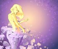 Den perfekta guld- flickan dyker upp från en stenstaty av en fet kvinna stock illustrationer