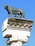 Den perfekta statyn av CAPITOLINE-VARGEN med kopplar samman Romulus och Rem royaltyfri foto