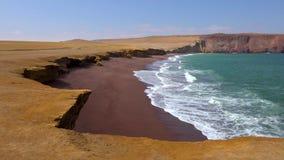 Den peruanska kustlinjen, vaggar bildande på kusten, Paracas den nationella reserven, Paracas, Ica Region, Peru royaltyfri bild