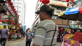 Den Petaling gatan ?r en chinatown som lokaliseras i Kuala Lumpur, Malaysia arkivfilmer