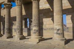 Den Philae templet på den Agilkia ön i sjön Nasser nära Aswan, E Royaltyfria Foton