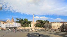 Den piazzadel Popolo fyrkanten i Rome arkivfilmer