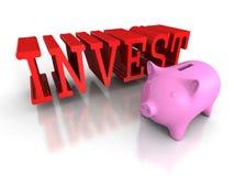 Den Piggy myntbanken med rött INVESTERAR ord äganderätt för home tangent för affärsidé som guld- ner skyen till Arkivbild
