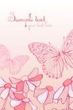 Den pinkblommorna och fjärilen Royaltyfri Foto