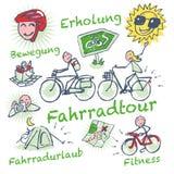 Den pinnediagram och cykeln turnerar Arkivfoton