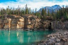 Den pittoreska athabascaen faller floden Kanada Royaltyfri Fotografi