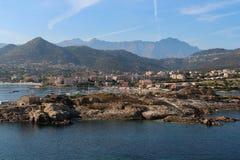 Den pittoreska kustlinjen av Corse, Frankrike Arkivbilder