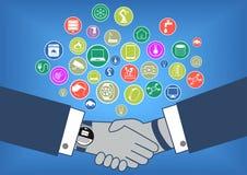 Den plana designillustrationen av affärstransaktionen i internet av sakereran med handskakan och ilar klockan royaltyfri illustrationer
