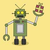 Den plana designroboten kommer med gåvan royaltyfri illustrationer