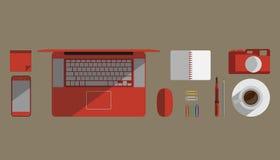 Den plana designvektorillustrationen av skrivbordmiljön anmärker Arkivfoto