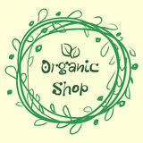 Den plana etikettsamlingen av organisk produkt 100 och högvärdig kvalitets- naturlig mat förser med märke beståndsdelar Fotografering för Bildbyråer
