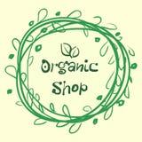 Den plana etikettsamlingen av organisk produkt 100 och högvärdig kvalitets- naturlig mat förser med märke beståndsdelar bakgrund  vektor illustrationer