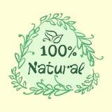 Den plana etikettsamlingen av organisk produkt 100 och högvärdig kvalitets- naturlig mat förser med märke beståndsdelar På vitbak Royaltyfria Foton