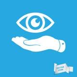 Den plana handen föreställer ögonsymbolen royaltyfri illustrationer