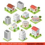 Den plana isometriska restaurangen för byggnadskvarteret shoppar infographic Fotografering för Bildbyråer