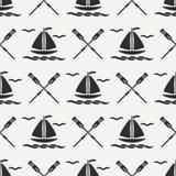 Den plana linjen för modellhavet för den monokromma vektorn sömlöst fartyg med seglar, paddlar Retro stil för tecknad film regatt stock illustrationer