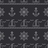 Den plana linjen för modellhavet för den monokromma vektorn sömlöst fartyg, seglar, styrninghjulet, ankare Retro stil för tecknad royaltyfri illustrationer