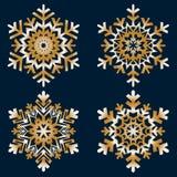 Den plana linjen snösymboler, snö flagar konturn royaltyfria foton