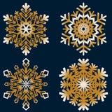 Den plana linjen snösymboler, snö flagar konturn royaltyfria bilder