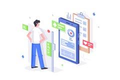 Den plana mannen är online-diagnostik med mobiltelefonen 3d som den medicinska minnestavlan stock illustrationer