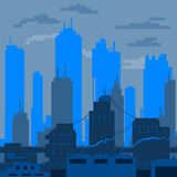 Den plana staden planlade i skuggor av den blåa vektorn Royaltyfri Bild