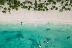 Den plana stranden med gömma i handflatan och ocen med fartyg royaltyfri foto