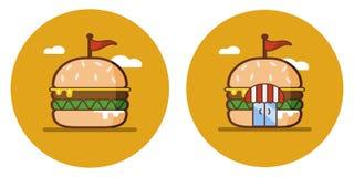 Den plana symbolen av hamburgaren shoppar vektor illustrationer