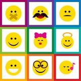Den plana symbolsgestuppsättningen av hyssjar, smeker, misshog och andra vektorobjekt Inkluderar också leendet, kyssen, tysta bes Royaltyfri Foto