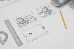 Den plana techincal teckningen och skissar Royaltyfri Foto