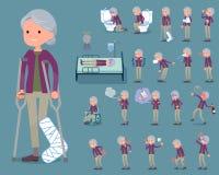 Den plana typlilan beklär grandmother_sickness Arkivfoton