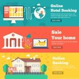 Den plana uppsättningen av baner för hus för socialt affärslopp, online-bankrörelse-, parkerings- och försäljningsplanlägger Vekt Royaltyfria Bilder