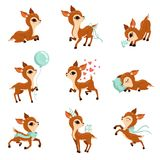 Den plana vektoruppsättningen av gulligt lismar i olika handlingar Tecknad filmtecken av små hjortar Förtjusande skogdjur diagram royaltyfri illustrationer