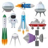 Den plana vektoruppsättningen av symboler gällde utrymmetemat Främmande tefat, raket, astronaut i dräkt, fördärvar utforskningrov royaltyfri illustrationer