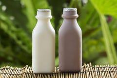 Den plast- flaskan av choklad och nya mjölkar Arkivfoto