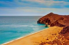 Den Playa de los Muertos stranden i Cabo de naturliga Gata-Nijar parkerar, Arkivfoto