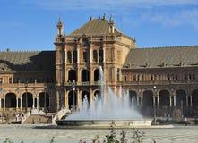 Plaza de Espana (Spanien kvadrerar), Seville, Spanien arkivbild