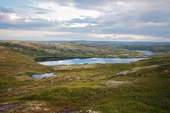 Den polara sommaren landskap med laken Arkivfoto